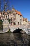Bruges, Belgium. Flemish architecture, bridge view Stock Image