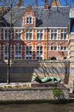 Bruges, Belgium. Flemish old architecture, canal view Royalty Free Stock Photo