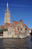 Bruges, Belgium. Flemish old architecture, canal view Stock Photo