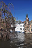 Bruges, Belgium. Flemish old architecture, canal view Royalty Free Stock Image