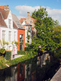 Bruges Belgium historic houses  canal Europe Stock Image