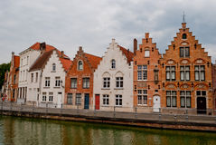 Bruges, Belgium, houses along the channel Royalty Free Stock Photo