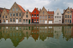 Bruges, Belgium, houses along the channel Stock Photography