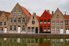 Bruges, Belgium, houses along the channel Royalty Free Stock Photography