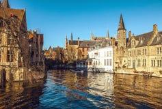 Bruges, Belgium. Image with Rozenhoedkaai in Brugge, Dijver river canal Royalty Free Stock Image