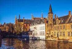 Bruges, Belgium. Image with Rozenhoedkaai in Brugge, Dijver river canal Royalty Free Stock Photography