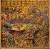 BRUGES, BELGIUM - JUNE 12, 2014: The Carved relief of the Last Supper in St. Salvator's Cathedral Royalty Free Stock Photography