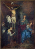 BRUGES, BELGIUM - JUNE 12, 2014: The Crucifixion by L. Dedeyster (1634)  in st. Jacobs church Royalty Free Stock Photography