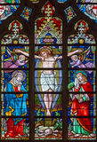 BRUGES, BELGIUM - JUNE 12, 2014: The Crucifixion on the windowpane in St. Salvator's Cathedral Royalty Free Stock Photography