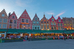 BRUGES, BELGIUM - JUNE 12, 2014: The houses of the Grote Markt square Stock Images