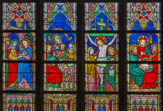 BRUGES, BELGIUM - JUNE 12, 2014: The New Testament scenes on windowpane in St. Salvator's Cathedral (Salvatorskerk Stock Image