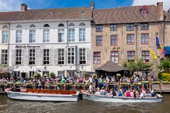Sightseeing boats trip iin Bruges. BRUGES, BELGIUM - JUNE 3,2017:  Sightseeing boats trip on channels Belgium Stock Photography