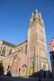 BRUGES, BELGIUM - JUNE 13, 2014: St. Salvator's Cathedral (Salvatorskerk) from west in evening Royalty Free Stock Images