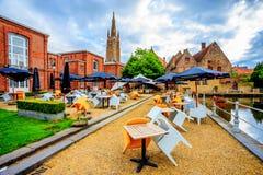 BRUGES, BELGIUM - JUNE 10, 2014: Outdoor cafe in Church of Our Lady in Bruges. BRUGES, BELGIUM - JUNE 10, 2014: View of outdoor cafe in Church of Our Lady in Stock Image