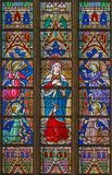 BRUGES, BELGIUM - JUNE 12, 2014: The Virgin Mary on the windowpane in St. Salvator's Cathedral Stock Images