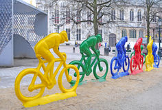 Polyester racing cyclists in Bruges Stock Image