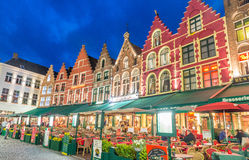 BRUGES, BELGIUM - MARCH 22, 2015: Night view of decorated and il Stock Image