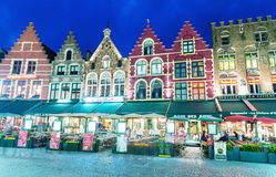 BRUGES, BELGIUM - MARCH 22, 2015: Night view of decorated and il Stock Images