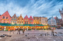 BRUGES, BELGIUM - MARCH 22, 2015: Night view of Grote Markt Squa Royalty Free Stock Image