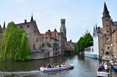 Bruges, Belgium - May 11, 2015: Tourist Visit Rozenhoedkaai In Bruges, Belgium. Stock Photography
