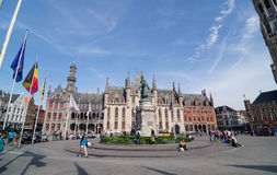 Bruges, Belgium - May 11, 2015: Tourist on Grote Markt square in Bruges, Belgium Stock Photography