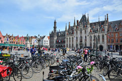Bruges, Belgium - May 11, 2015: Tourist on Grote Markt square in Bruges, Stock Photography