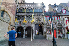 Bruges, Belgium - May 11, 2015: Tourist visit Basilica of the Holy Blood in Bruges Royalty Free Stock Image
