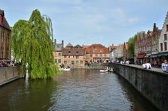 Bruges, Belgium - May 11, 2015: Tourist visit Rozenhoedkaai in Bruges, Belgium. Royalty Free Stock Image