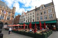 The traditional Flemish cafe De Vier Winden located on Markt of Bruges -Market Square in Bruges , Belgium stock image