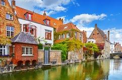 Bruges, Belgium. Medieval old brick houses royalty free stock photos