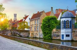 Bruges, Belgium. Medieval old brick houses royalty free stock image