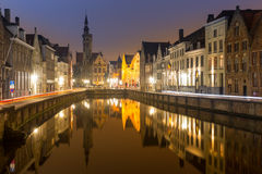 Bruges, Belgium at night. Stock Images