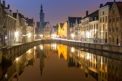 Bruges, Belgium at night Stock Photography