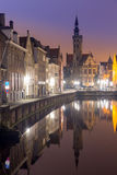 Bruges, Belgium at night Stock Images