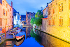 Bruges, Belgium. Night view of city canal and medieval architect Stock Photography