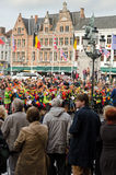 Bruges. BELGIUM - OCTOBER, 25: People wait in the streets to welcome the King Philippe of Belgium, on October25, 2013, in , Belgium. King Albert II announced Royalty Free Stock Photo