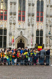 Bruges. BELGIUM - OCTOBER, 25: People wait in the streets to welcome the King Philippe of Belgium, on October25, 2013, in , Belgium. King Albert II announced Stock Photography