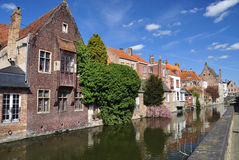 Bruges, Belgium. Old canal front buildings Stock Photos