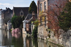 Bruges, Belgium. Old canal front buildings Stock Images