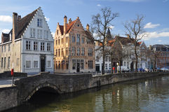 Bruges, Belgium. Old canal front buildings Royalty Free Stock Photo