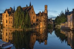 Bruges in Belgium - The Rozenhoedkaai Stock Photography