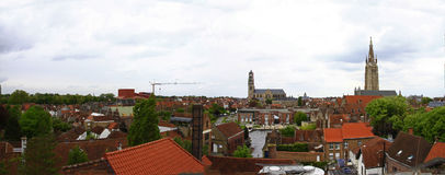 Bruges, Belgium. A view of Bruges from the roof of the Brugse Zot brewery - Family-run brewery with guided tours, a museum showcasing old brewing techniques plus Royalty Free Stock Image