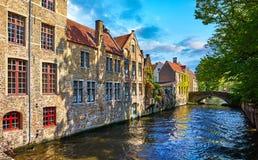 Bruges Belgium vintage stone houses and bridge Stock Photography
