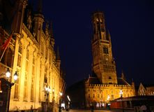 Bruges Bell Tower. The Bell Tower of Bruges at night Stock Image