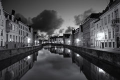 Bruges in Black and White. Houses along a canal at night in Bruges, Belgium, in a black and white composition Royalty Free Stock Photo