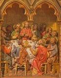 BRUGES, BÉLGICA - 13 DE JUNHO DE 2014: A última ceia de Cristo que cinzela o altar principal do formulário (19 centavo ) em St Gi Imagens de Stock Royalty Free