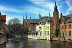 Bruges, Bruges, le canal. Image stock