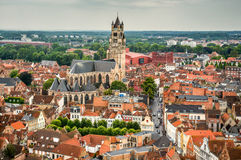 Bruges, Brugge, Belgium. Bruges, Belgium. Top view of the Saint Salvator Cathedral in Brugge city of Flanders, belgian culture heritage royalty free stock photo