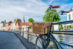 Bruges Brugge cityscape with bike Stock Photos