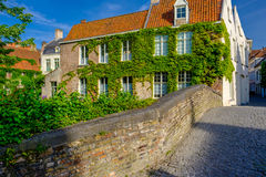 Bruges Brugge cityscape with water canal and bridge Stock Images
